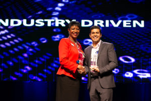 Anil accepting the industry driven award at the NCTech Banquet